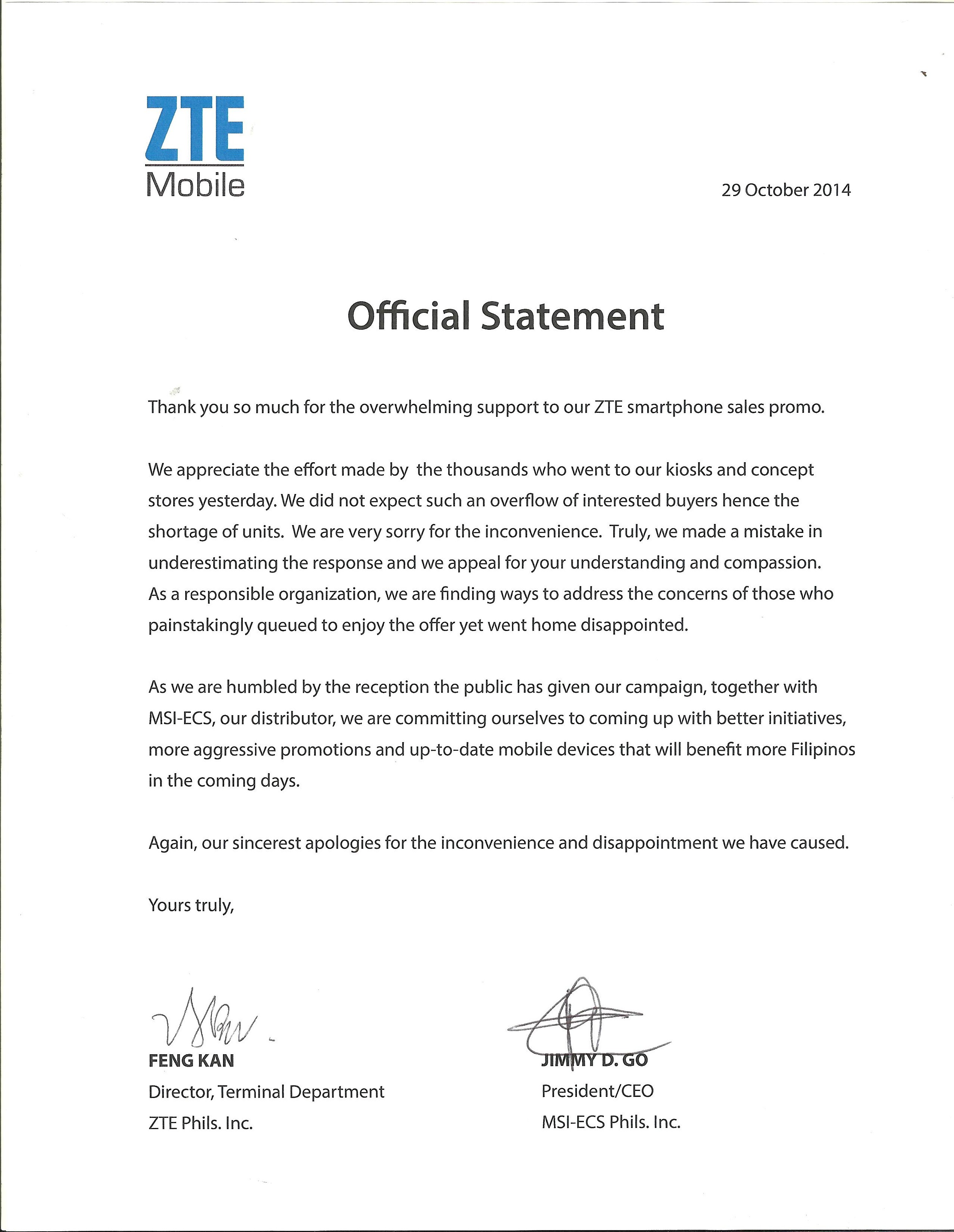 ZTEs Official Statement Regarding The ZTE Grand X2 L Sale