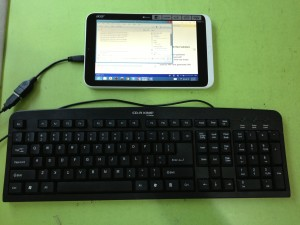 A USB Keyboard connected to the Acer Iconia W3-810