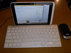 Paired with the Apple Wireless Keyboard and connected to my Smart BRO Pocket WiFi