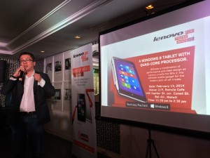 Michael Ngan, Lenovo Philippines General Manager, welcoming the media to the Miix 2 Launch
