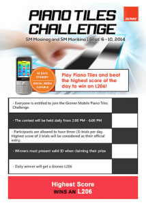 Gionee Piano Tiles Challenge