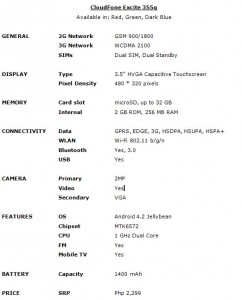 CloudFone_Excite_355g_Specs