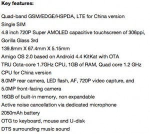 Elife S5_1 Specs and Features