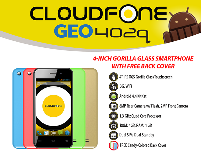 Get the CloudFone Geo 402q with Globe Plan 299