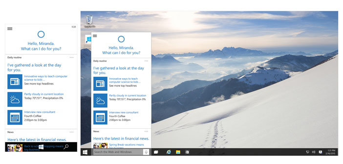 Microsoft Brings Cortana to PCs with Windows 10
