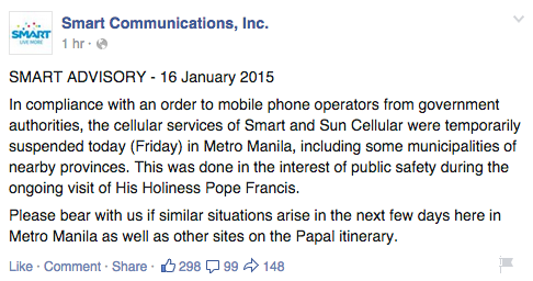 Smart Communications Papal Visit Advisory