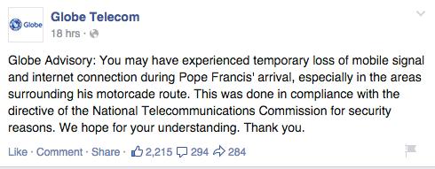 Globe Telecom Papal Visit Advisory
