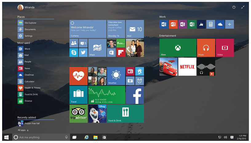Windows 10 Interface