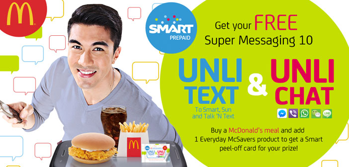 Get 1 Day of FREE Unlimited Text and Chat from Smart and McDonalds
