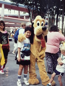 with the adorable Pluto at Disneyworld, Florida way back in 1991