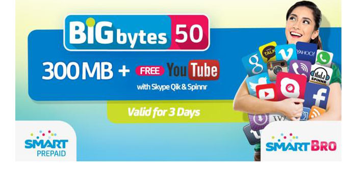 Get 300MB of Data for only Php50 with Smart Big Bytes!