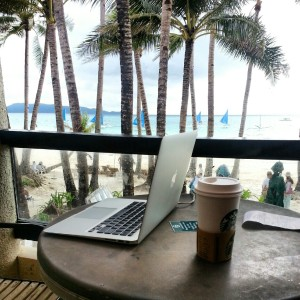 Thanks to Upwork (formerly oDesk.com), I can work anywhere, anytime! I stayed in Boracay for 1 month and worked in front of the beach!